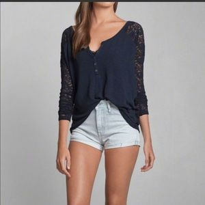 NWT A& F loose lace top