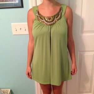 new directions Tops - Green beaded studded top. Never worn.