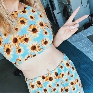 Jac Vanek Tops - Sky Blue Sunflower Halter Top