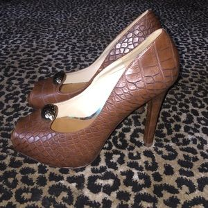 Christian Siriano Shoes - Brown Faux Croc Open Toe Pumps!!
