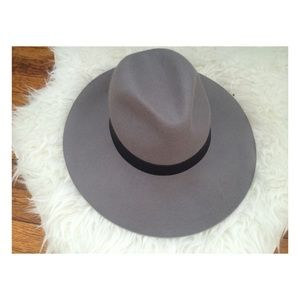 Topshop Grey Wide-Brim Hat NWOT