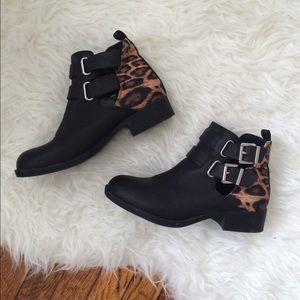 Black & Leopard Print Booties