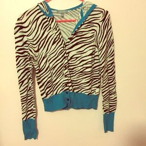 Delia's zebra cardigan with hood