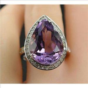 Jewelry - Halo Amethyst diamonds 14k WG ring NWOT, final