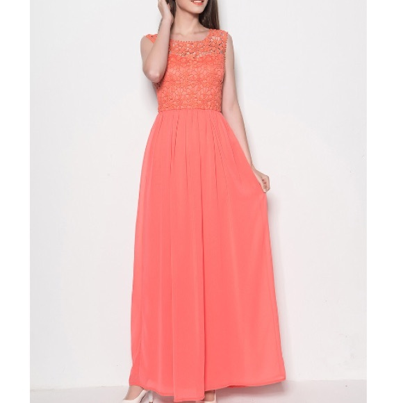 73% off Dresses & Skirts - Peach coral maxi dress pink lace ...
