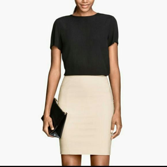 baf69dfe041d28 H&M Skirts | Hm Beige Pencil Skirt | Poshmark