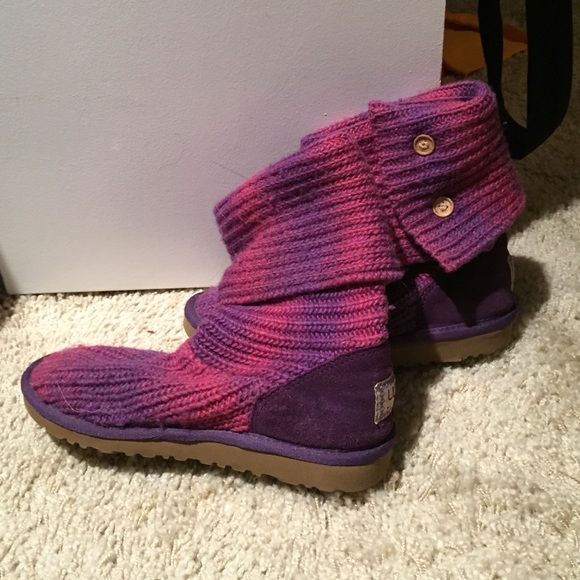 Purple and pink knitted uggs