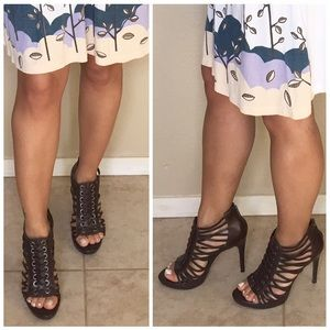 Jessica Simpson Shoes - Jessica Simpson Brown Lace Front Strappy Heels