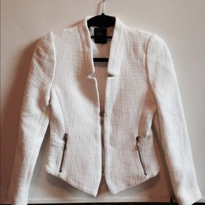 White boucle zara blazer with zippers