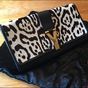 YSL Pony Hair & Leather Y Clutch