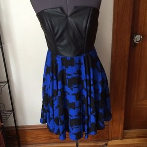lavender brown Dresses & Skirts - ✨HP🎉 Gorgeous cobalt &leather dress