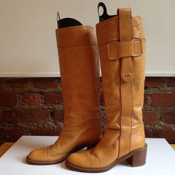 75 boots leather knee high camel