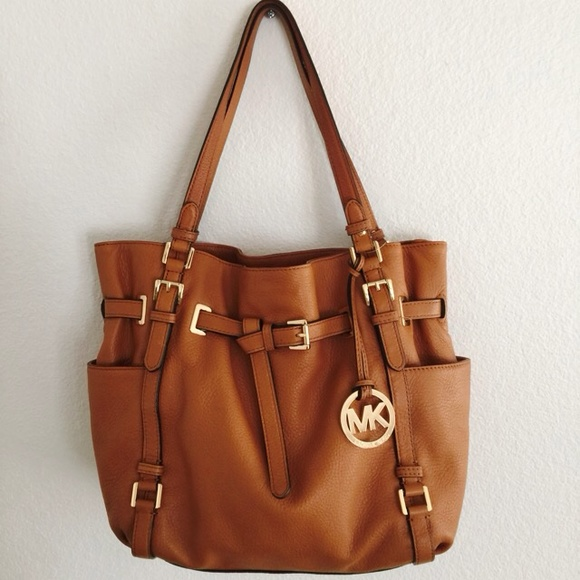 87efed46a462 MICHAEL Michael Kors Bags | Michael Kors Brown Large Leather Handbag ...
