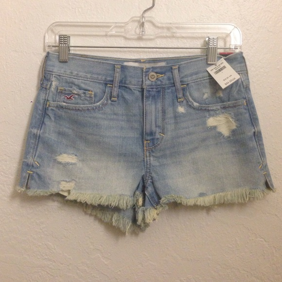 2019 Fashion Women's Hollister Blue Jean Shorts Size 1 W25 Distressed Ripped Medium Wash Clothing, Shoes & Accessories