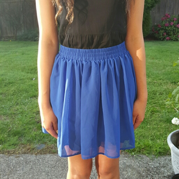 1e2fe40177 Forever 21 Skirts | F21 Royal Blue Chiffon Skirt | Poshmark