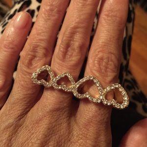 Jewelry - Double rhinestone hearts ring(s)