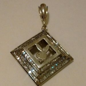 Playboy Bunny Pendent, 925 silver and 18k w gd