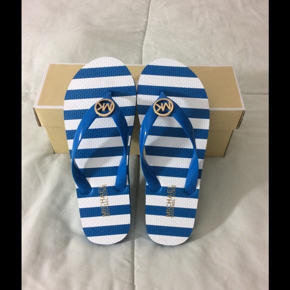 5579582c765cd0 Michael Kors flip flop blue stripe rubber. M 555a212d2599fe69c900e81a