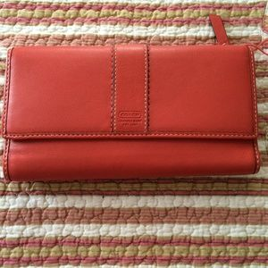 Authentic Coach Coral Leather Large Wallet SALE!!