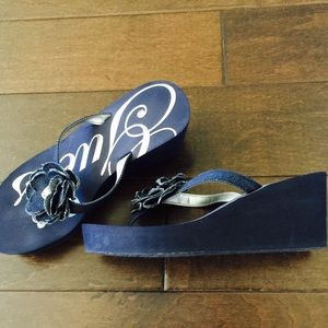0d15ff02a5a Guess Shoes - Guess Denim Flip Flop Wedge