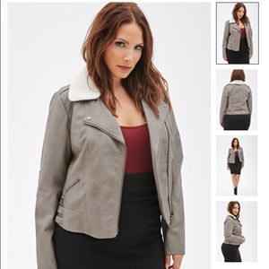 NEW Forever 21+ Plus Size Leather Bomber Jacket