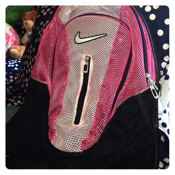 62% off Nike Handbags - Pink & Black Nike Mesh Backpack from ...