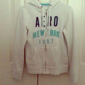 Aeropostale white hoodie jacket