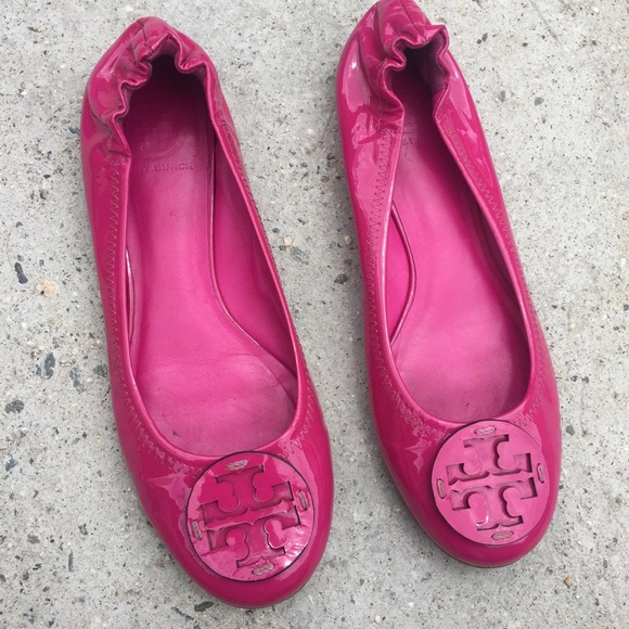Tory Burch Hot Pink Patent Flats Shoes