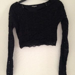Express black crop lace long sleeve top