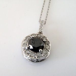 "3.0 TCW Natural Black Diamond Halo  Necklace (17"")"