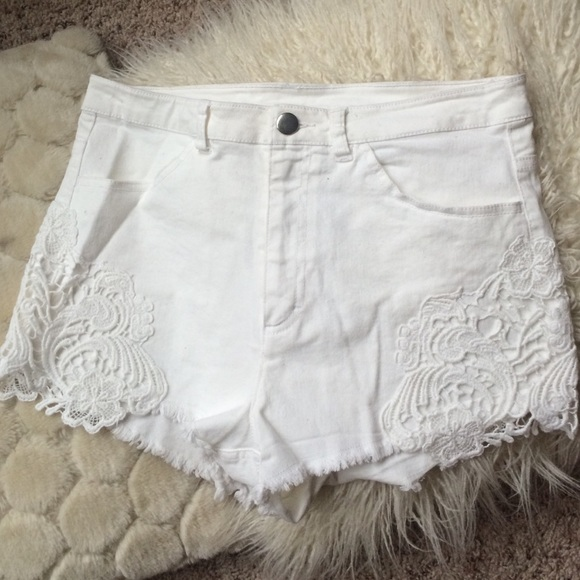 57% off H&M Denim - H&M white denim shorts with lace from Andrea's ...