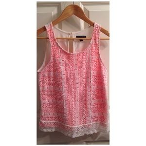 Coral/lace tank 