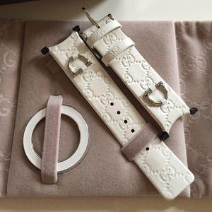 1b55399b10f Gucci Accessories - Gucci U-play White Leather Watch Strap bezel