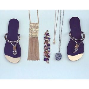 Shoes - Gold plated rope sandals