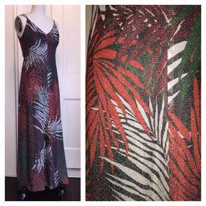 70's Hawaiian Palm Print Luréx Maxi Dress