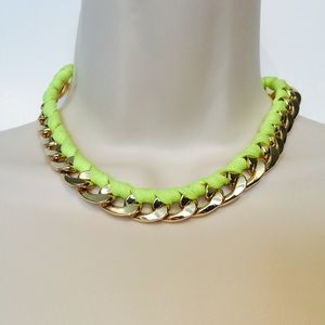 Neon Yellow & Gold tone Necklace