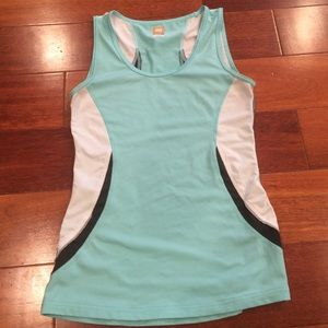Lucy turquoise and white workout tank