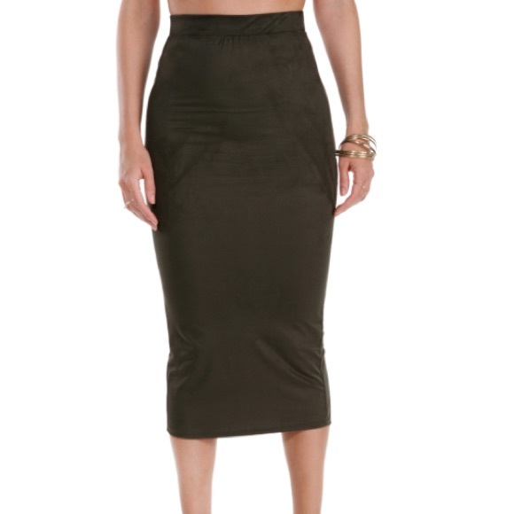 21% off Dresses & Skirts - Olive green Faux Suede Midi Pencil ...