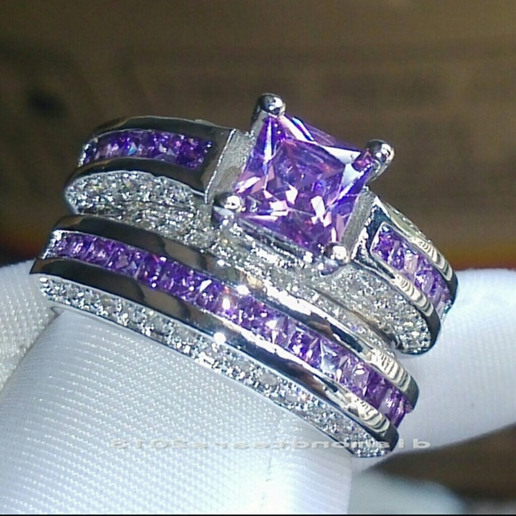 48 off jewelry beautiful amethyst wedding set from for Amethyst diamond wedding ring set