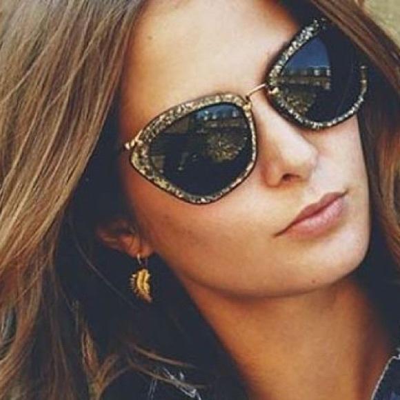 MIU MIU Metal Mix Cateye Grey Glitter Sunglasses. M 555aa457a06f807271010587 93d7b1265dbff