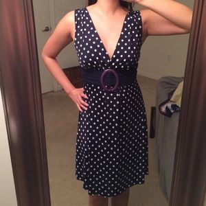 Dresses & Skirts - Navy and White Polka Dot Dress