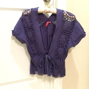 Anthropologie purple knitted cardigan