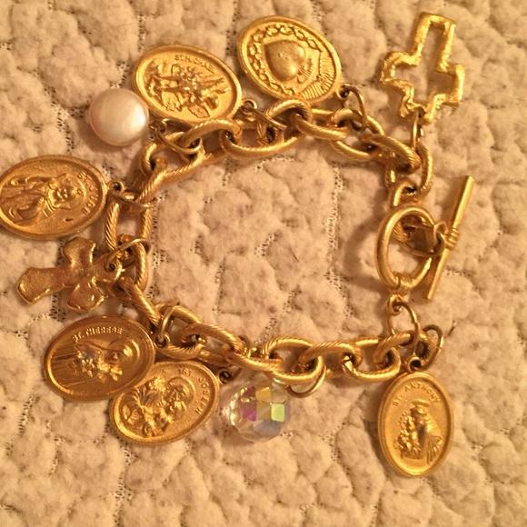 Susan Shaw gold Catholic saints bracelet