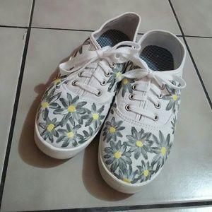 Floral sneakers.