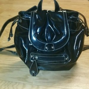 Handbags - Black patent synch back pack