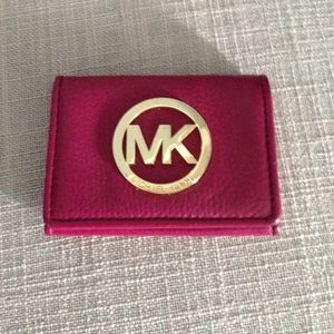 Michael Kors pink leather card wallet