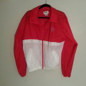 Red and white Jacket.