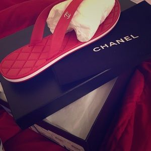 Red Chanel Thong Sandals
