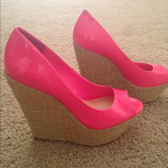 20fd008df69c Jessica Simpson Shoes - Jessica Simpson Hot Pink peep toe wedges