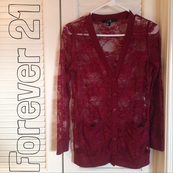 53% off Forever 21 Tops - Forever 21 Burgundy Lace Cardigan from ...